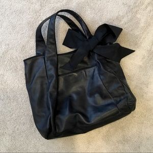 ANN Taylor Large Black Leather Tote